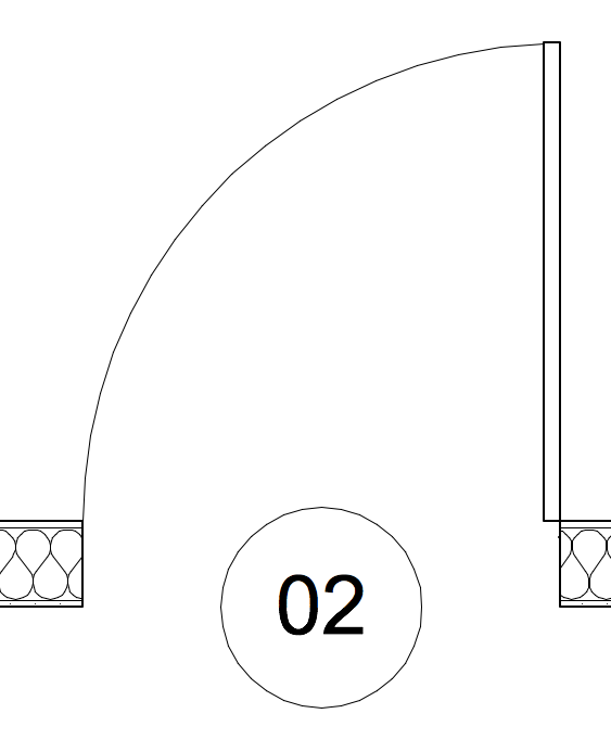 A frameless door in plan